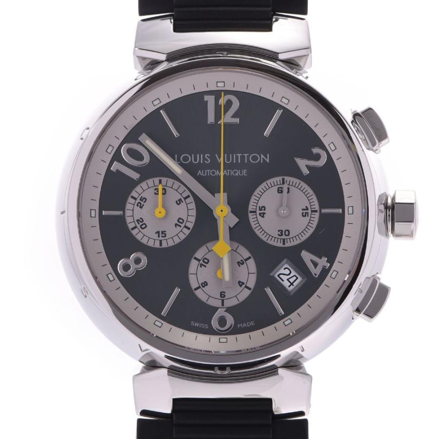 【送料込】 送料無料 LOUIS VUITTON ルイヴィトン タンブール クロノ Q1120 メンズ SS/ラバー 腕時計 自動巻き グレー系文字盤 Aランク  銀蔵, 野栄町 eb5aaf83