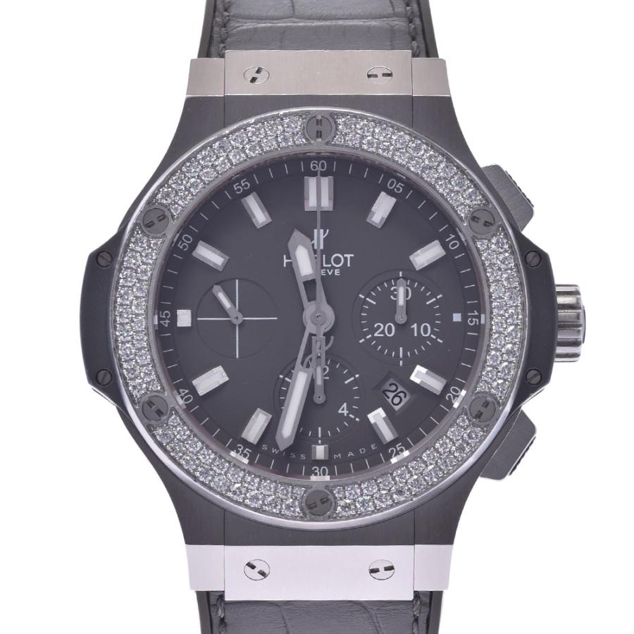 HUBLOT ウブロ アールグレイダイヤモンド  ビックバン 301.ST.5020.GR.1104 メンズ SS/ラバー/レザー 腕時計 自動巻き グレー文字盤 Aランク 中古 銀蔵|ginzo1116