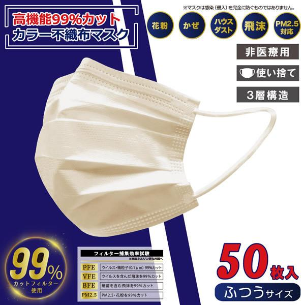 ヒロコーポレーション VFE取得 高機能99%カット 50枚入 ふつうサイズ 不織布マスク (ベージュ) gioncard 02