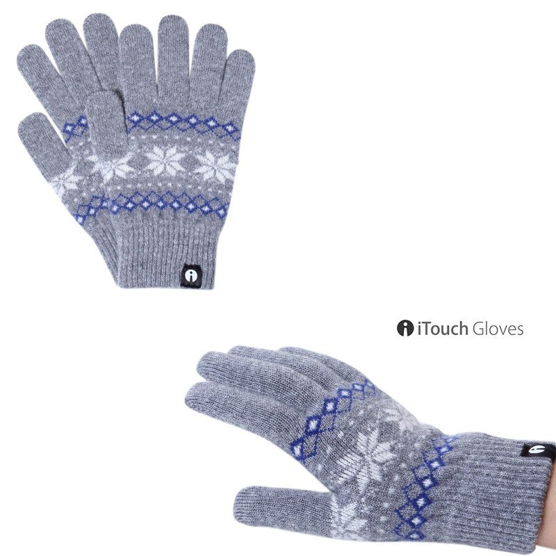 iTouch Gloves PATTERN ジャガード グレー