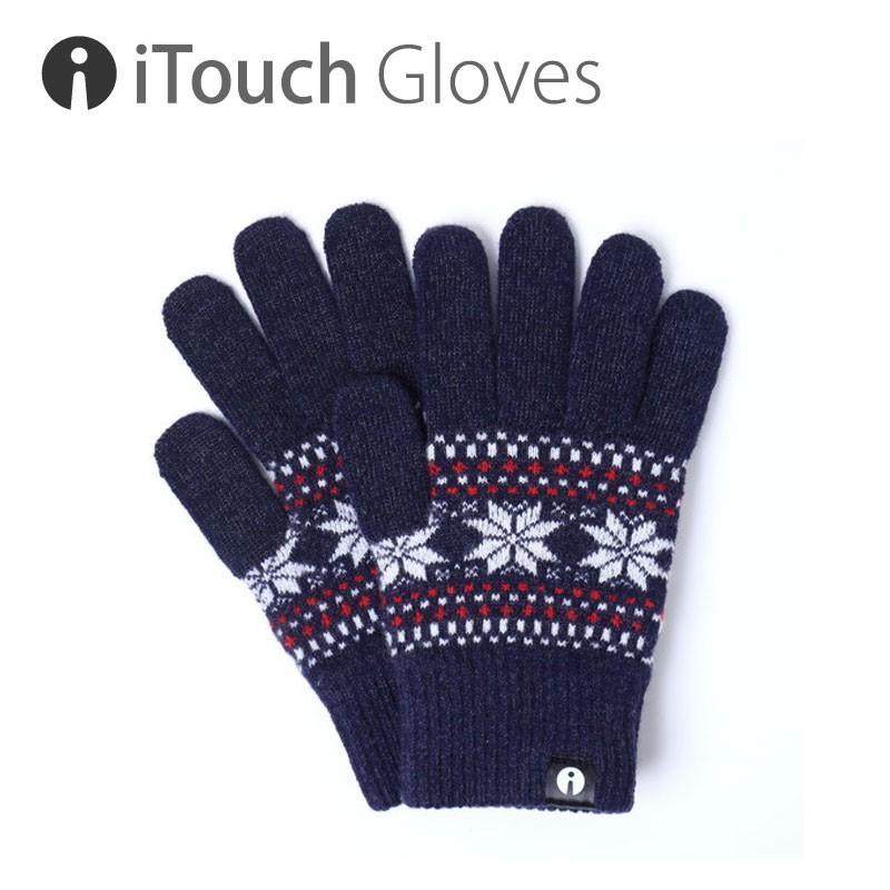 iTouch Gloves PATTERN PATTERN ジャカード ネイビー