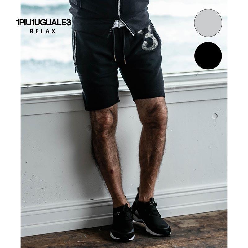 1PIU1UGUALE3 RELAX ウノピゥウノウグァーレトレ リラックス ラインストーン 3ロゴ ショートパンツ 黒 グレー|gios-shop
