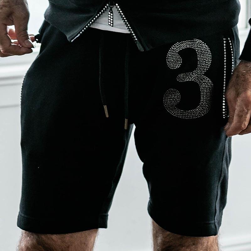 1PIU1UGUALE3 RELAX ウノピゥウノウグァーレトレ リラックス ラインストーン 3ロゴ ショートパンツ 黒 グレー|gios-shop|05