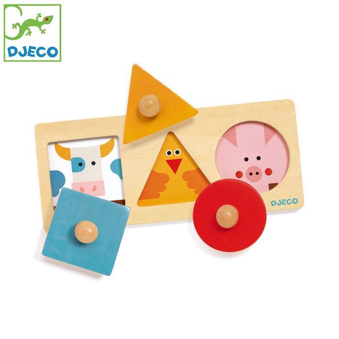 型はめパズル はめこみ おもちゃ 幼児 DJECO ジェコ フォーマ ベーシック パズル DJ06200 動物 木製 形あわせ 12ヶ月 1歳 知育
