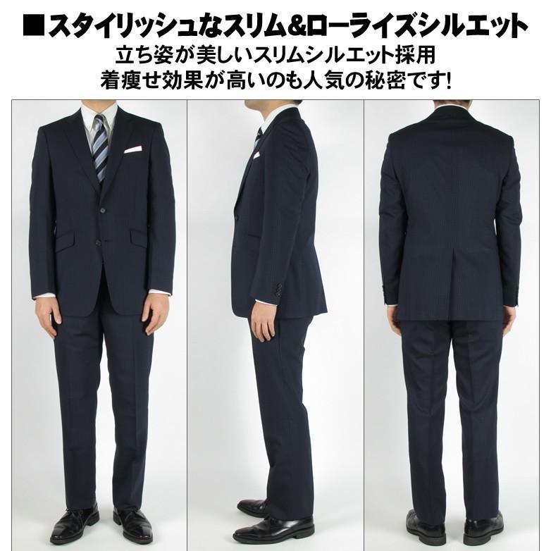 2パンツ ウォッシャブル スリム スーツ メンズ オシャレ 大きいサイズ ネイビー ストライプ ビジネススーツ ビジネス スペアパンツ 涼しい 春 夏 春夏 giulivo 06