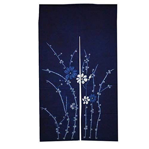 藍染のれん 絞り ロング丈 綿100% (立花)