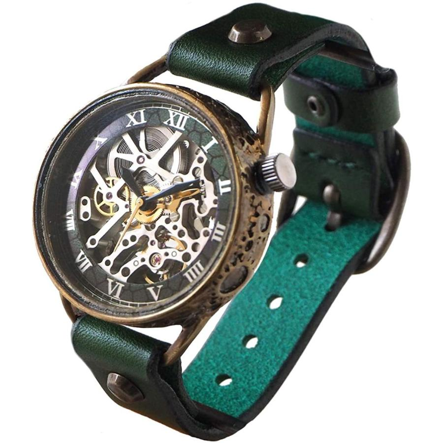 KINO(キノ) 手作り腕時計 自動巻き 裏スケルトン メカニックシルバー グリーン ハンドメイドウォッチ