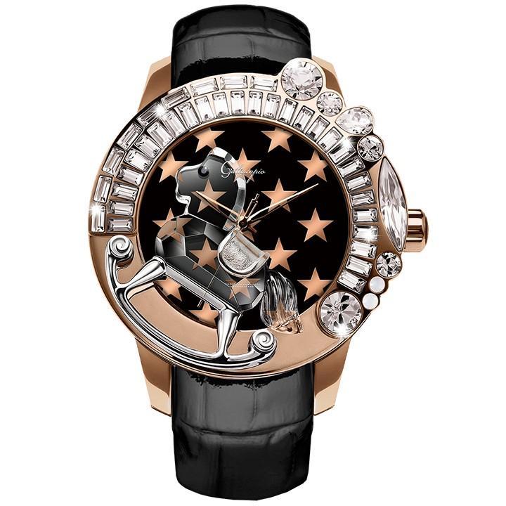 【現品限り一斉値下げ!】 スワロフスキーのキラキラ腕時計 Galtiscopio(ガルティスコピオ) STAR STAR 星2 レザーベルト ローズゴールド ブラック ブラック レザーベルト, メガネサングラスのDOURAKU:21041a64 --- airmodconsu.dominiotemporario.com