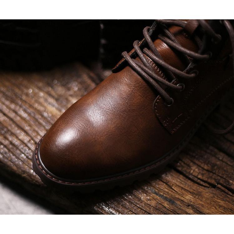 マーチンブーツ メンズ シューズ 靴 PU革 メンズファッション ワークブーツ ハイカット ブーツ 紳士靴 復古 英国風 アウトドア カジュアルシューズ 秋冬 新作|glanz-shop|11