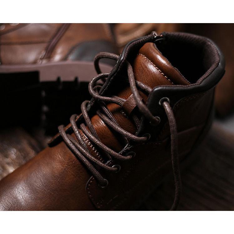 マーチンブーツ メンズ シューズ 靴 PU革 メンズファッション ワークブーツ ハイカット ブーツ 紳士靴 復古 英国風 アウトドア カジュアルシューズ 秋冬 新作|glanz-shop|12