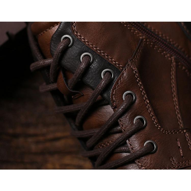 マーチンブーツ メンズ シューズ 靴 PU革 メンズファッション ワークブーツ ハイカット ブーツ 紳士靴 復古 英国風 アウトドア カジュアルシューズ 秋冬 新作|glanz-shop|13