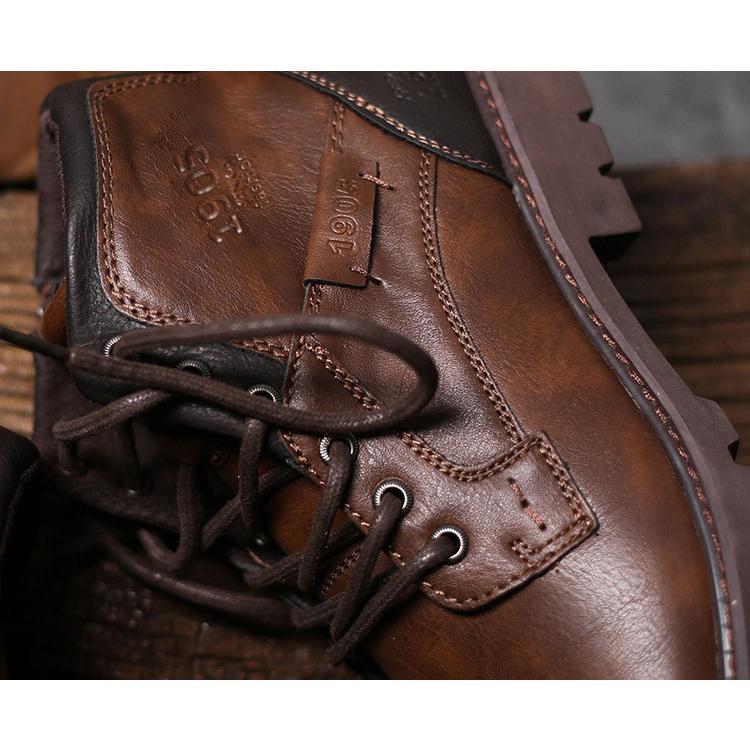マーチンブーツ メンズ シューズ 靴 PU革 メンズファッション ワークブーツ ハイカット ブーツ 紳士靴 復古 英国風 アウトドア カジュアルシューズ 秋冬 新作|glanz-shop|14