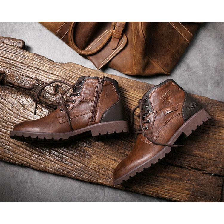マーチンブーツ メンズ シューズ 靴 PU革 メンズファッション ワークブーツ ハイカット ブーツ 紳士靴 復古 英国風 アウトドア カジュアルシューズ 秋冬 新作|glanz-shop|04