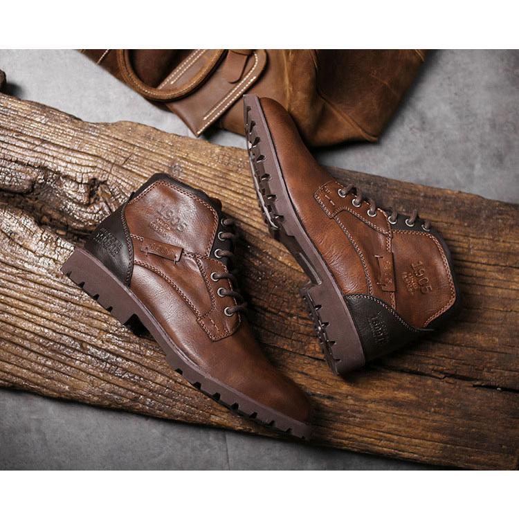 マーチンブーツ メンズ シューズ 靴 PU革 メンズファッション ワークブーツ ハイカット ブーツ 紳士靴 復古 英国風 アウトドア カジュアルシューズ 秋冬 新作|glanz-shop|05