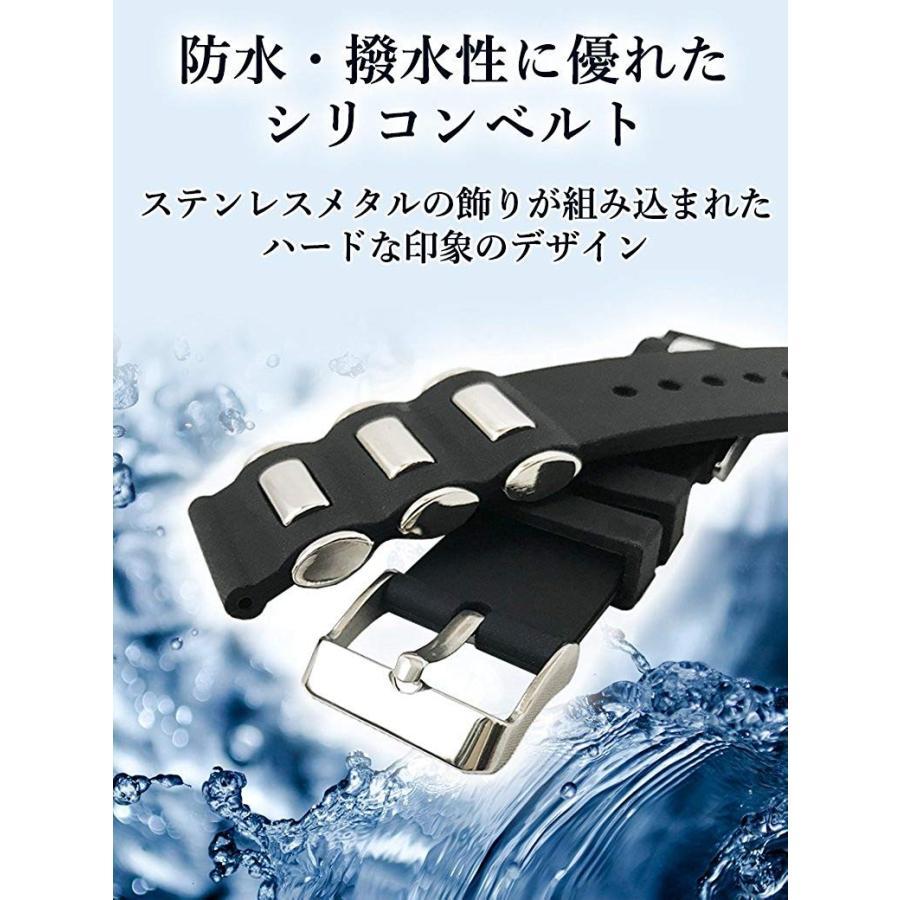 腕時計 シリコン ベルト 時計 ラバー バンド メタル 20mm 22mm 24mm (交換説明書 交換工具 バネ棒付)|glc|02