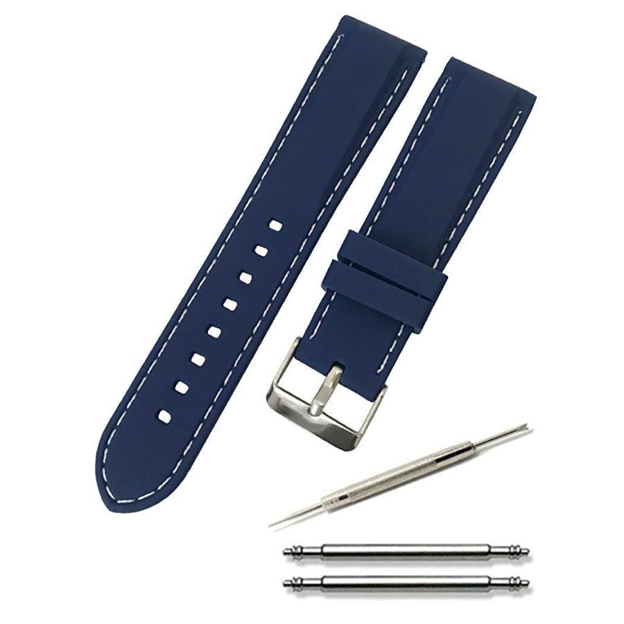 腕時計 シリコン ベルト 時計 ラバー バンド カラーステッチ 16mm 18mm 20mm 22mm 24mm (交換説明書 交換工具 バネ棒付)|glc|03