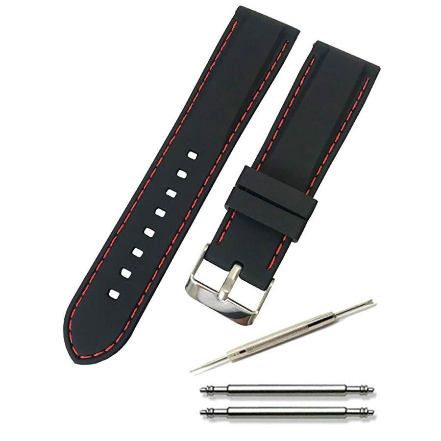腕時計 シリコン ベルト 時計 ラバー バンド カラーステッチ 16mm 18mm 20mm 22mm 24mm (交換説明書 交換工具 バネ棒付)|glc|04