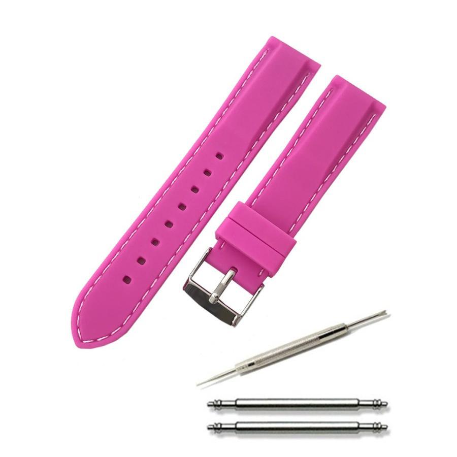 腕時計 シリコン ベルト 時計 ラバー バンド カラーステッチ 16mm 18mm 20mm 22mm 24mm (交換説明書 交換工具 バネ棒付)|glc|06