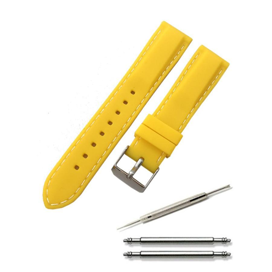 腕時計 シリコン ベルト 時計 ラバー バンド カラーステッチ 16mm 18mm 20mm 22mm 24mm (交換説明書 交換工具 バネ棒付)|glc|07
