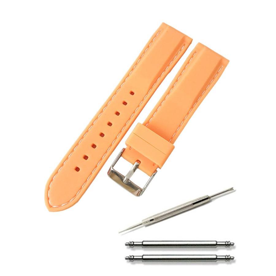 腕時計 シリコン ベルト 時計 ラバー バンド カラーステッチ 16mm 18mm 20mm 22mm 24mm (交換説明書 交換工具 バネ棒付)|glc|08