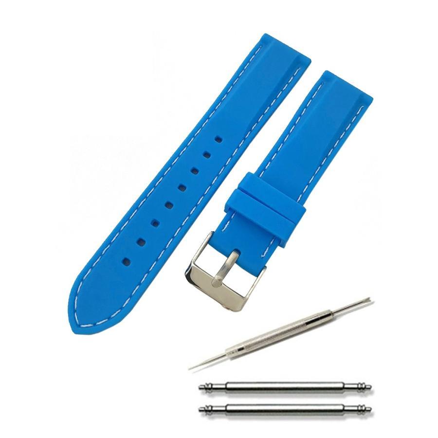 腕時計 シリコン ベルト 時計 ラバー バンド カラーステッチ 16mm 18mm 20mm 22mm 24mm (交換説明書 交換工具 バネ棒付)|glc|09