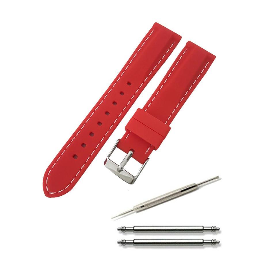 腕時計 シリコン ベルト 時計 ラバー バンド カラーステッチ 16mm 18mm 20mm 22mm 24mm (交換説明書 交換工具 バネ棒付)|glc|10
