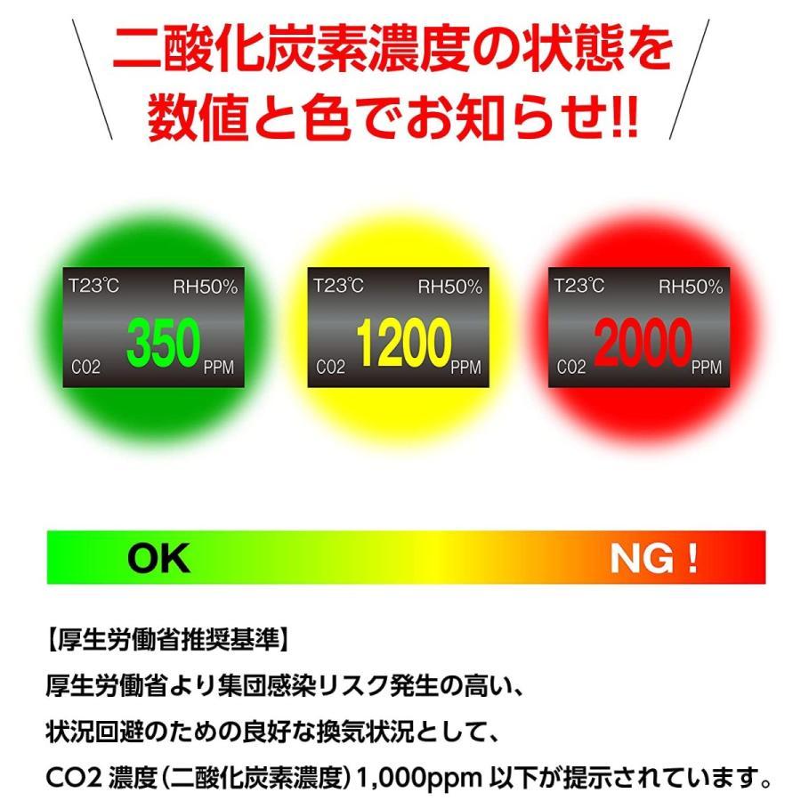二酸化炭素濃度計 CO2センサー 二酸化炭素計測器 CO2マネージャー co2濃度計 空気質検知器  USB充電 デンサトメーター 日本製 ステッカー POP付き|glf|03