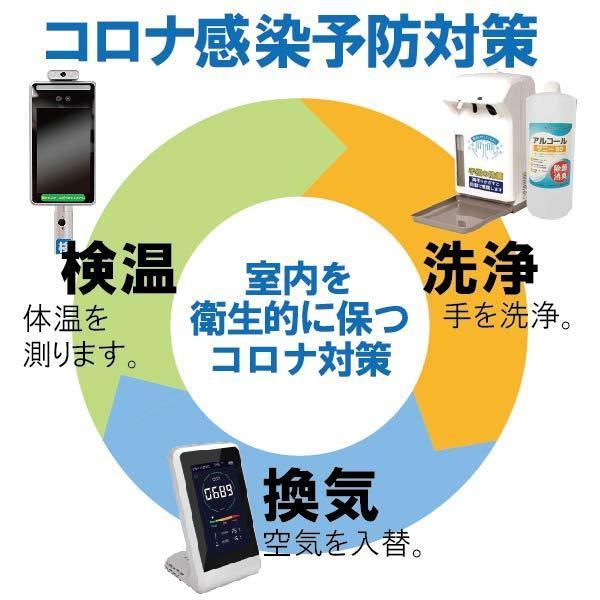 コロナ感染予防3点セット/サーモマネージャーEX(シール付き)/二酸化炭素濃度計(シール付き)/アルコールディスペンサー(専用ボトル1000ml付き) glf 17