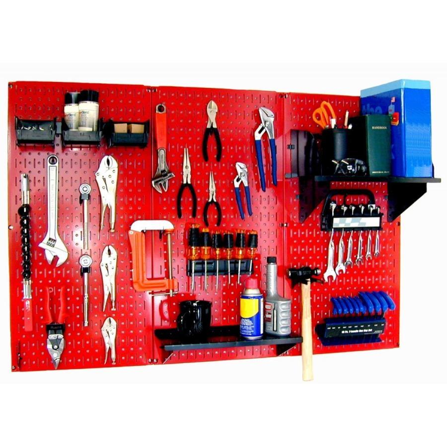 工具・壁掛けペグボードキット 3 Panel Red (ペグカラー:black) Y1503 グローバルshop