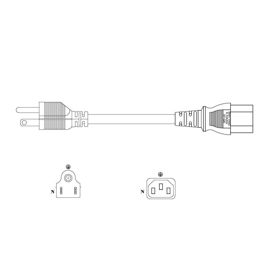 電源ケーブル IEC-105-1.8m 平2ピン+アースピン|globalmart|03