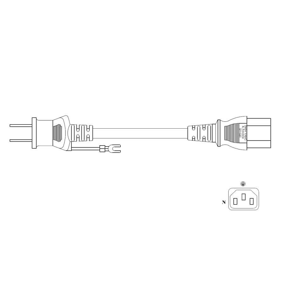 電源ケーブル IEC-106-3m 平2ピン+アース端子 globalmart 03