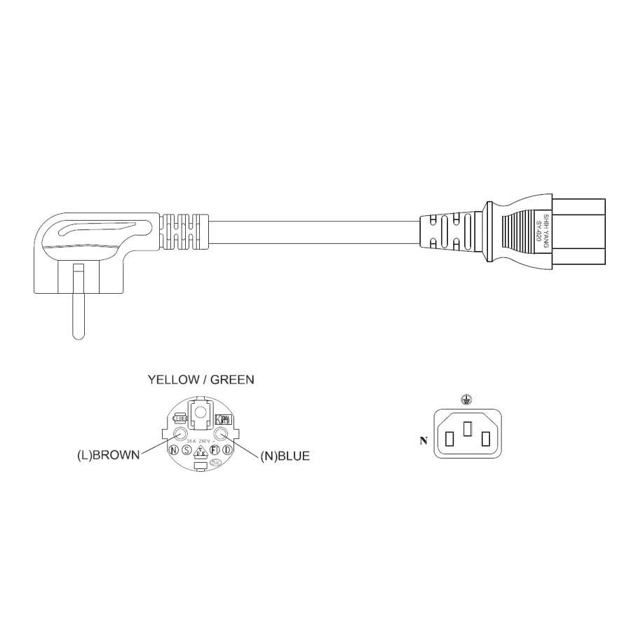 電源ケーブル IEC-109-3m 欧州型丸2ピン+サイドアース globalmart 03