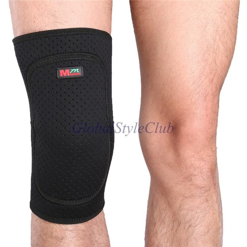 04スポーツニーガードプロテクター厚いデザイン快適で通気性ブラック膝のサポートブレース用フィットネスバスケットボール
