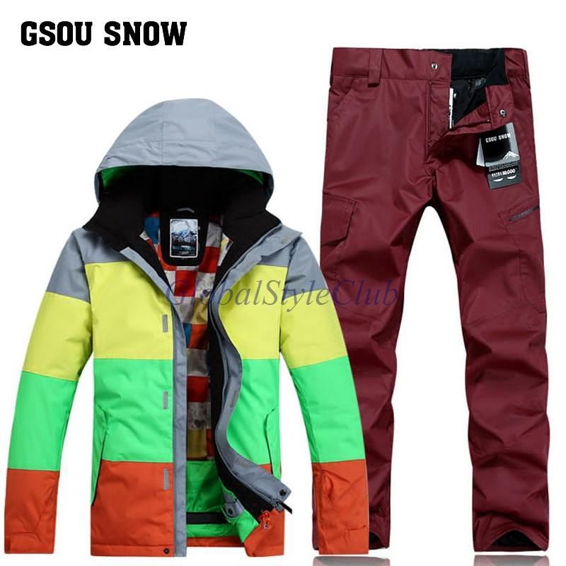 雪の男性のシングルボードスキースーツカラーシリーズ屋外雪のスーツ防風防水透湿スキージャケットスキーパンツ