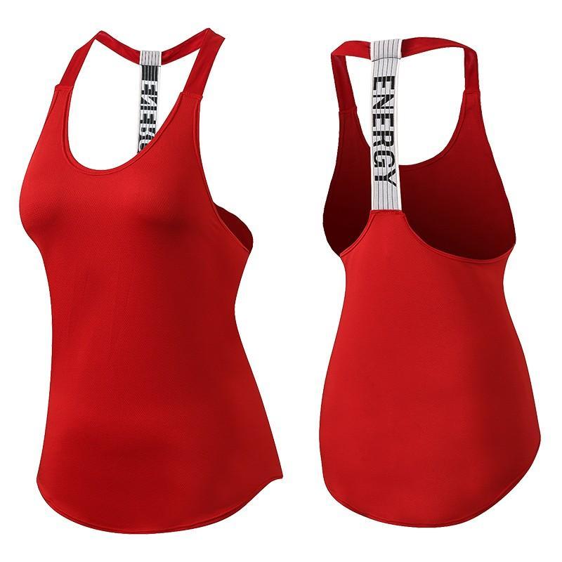 新しい通気性背中の開いたヨガのベスト固体速乾性ランニングジムスポーツヨガシャツ女性フィットネスノースリーブレッドタンクトップ