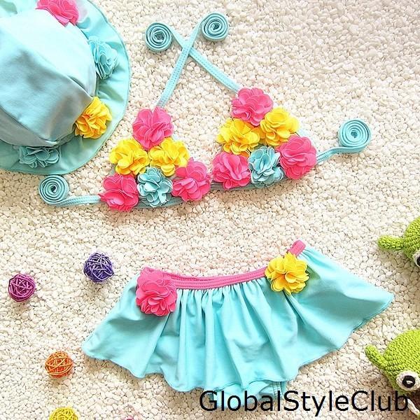新作 水着 キッズ女の子 ビキニ スカート キャップ付き 3点セット セパレート 子供 ベビー 花柄スイムウェア かわいい プール ビーチ 夏 海水浴
