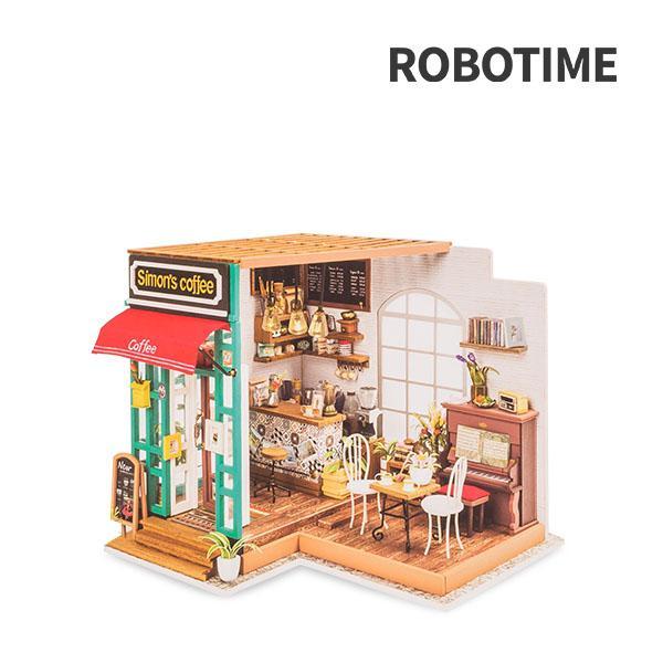 【GWもあすつく】 Robotime ミニチュアハウス ドールハウス サイモンズコーヒー DG109 ロボタイム DIY 組み立てキット|glv