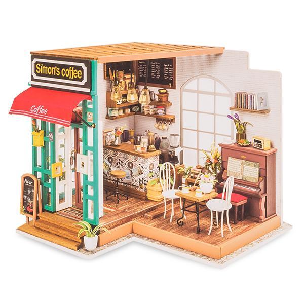【GWもあすつく】 Robotime ミニチュアハウス ドールハウス サイモンズコーヒー DG109 ロボタイム DIY 組み立てキット|glv|02