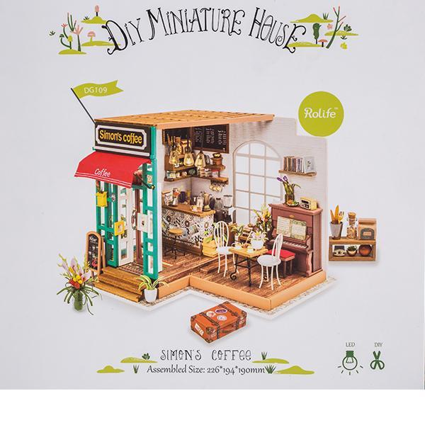 【GWもあすつく】 Robotime ミニチュアハウス ドールハウス サイモンズコーヒー DG109 ロボタイム DIY 組み立てキット|glv|08