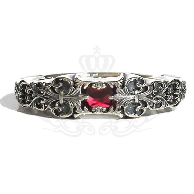 【最安値挑戦!】 GnB フローラル フルール リング w/ガーネット シルバー925 Ring Floral Fleur Engraved Silver925, 長崎 山崎本店酒造場 1b987fb4