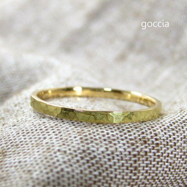 18金 リング ハンマー仕上げ Adrable クリスマスプレゼントに!|goccia