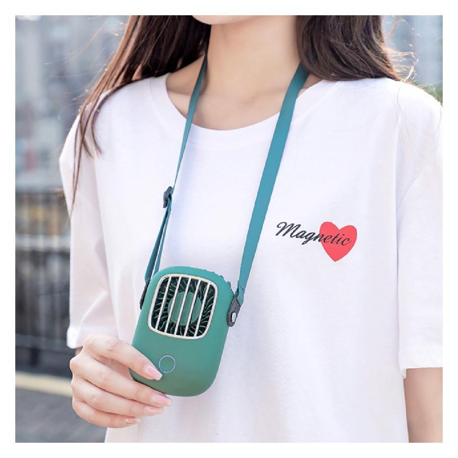 USB 扇風機 首かけ ハンディファン ミニ扇風機 卓上 ハンディ ミニ扇風機 持ち運び 携帯 小型 可愛い おしゃれ fan-09 gochumon 02