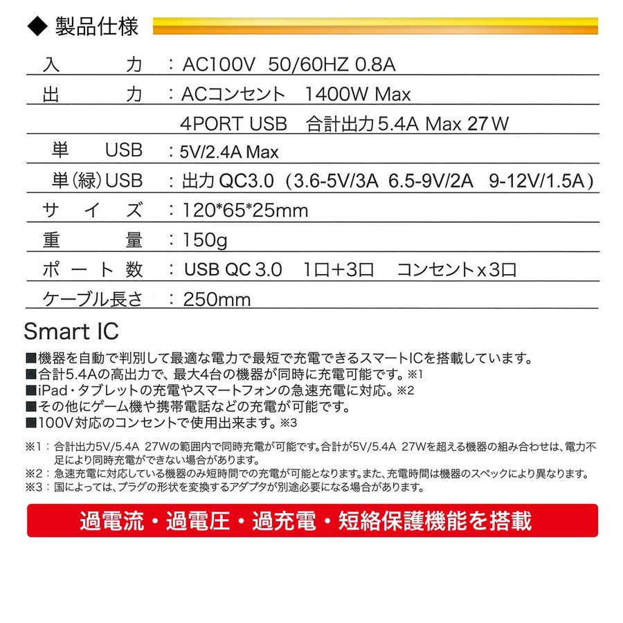 ACアダプター USB コンセント タップ 4ポート USB 4口 5.4A 充電器 USB充電器 コンセント 3口 電源タップ アダプター Quick Charger 3.0A対応 jiang jiang-tap01 gochumon 16