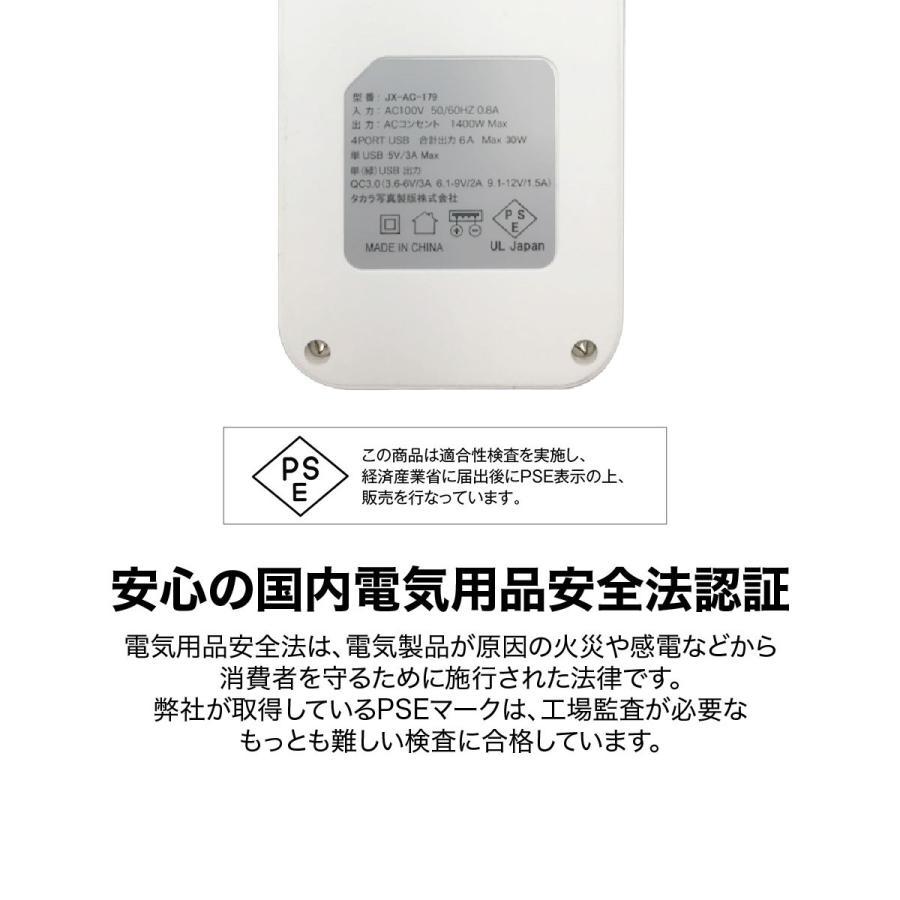 ACアダプター USB 急速 ACアダプタ コンセント タップ 4ポート usb 4口 6.0A コンセント 2口 1400W 電源タップ Quick Charger 3.0A 【hawks202110】|gochumon|13