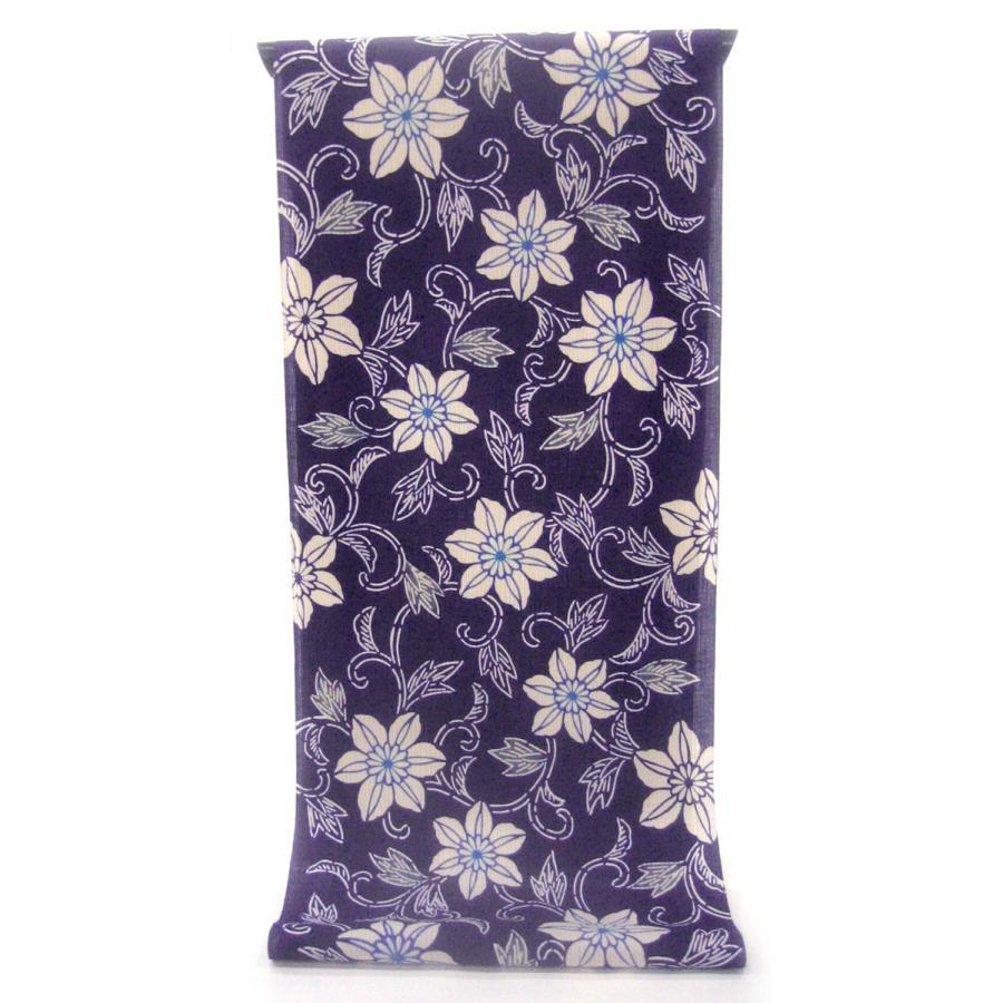 注染ゆかた ほんのり透け感 縞模様の変わり織り 市紺色に伸び繁る鉄線 ...