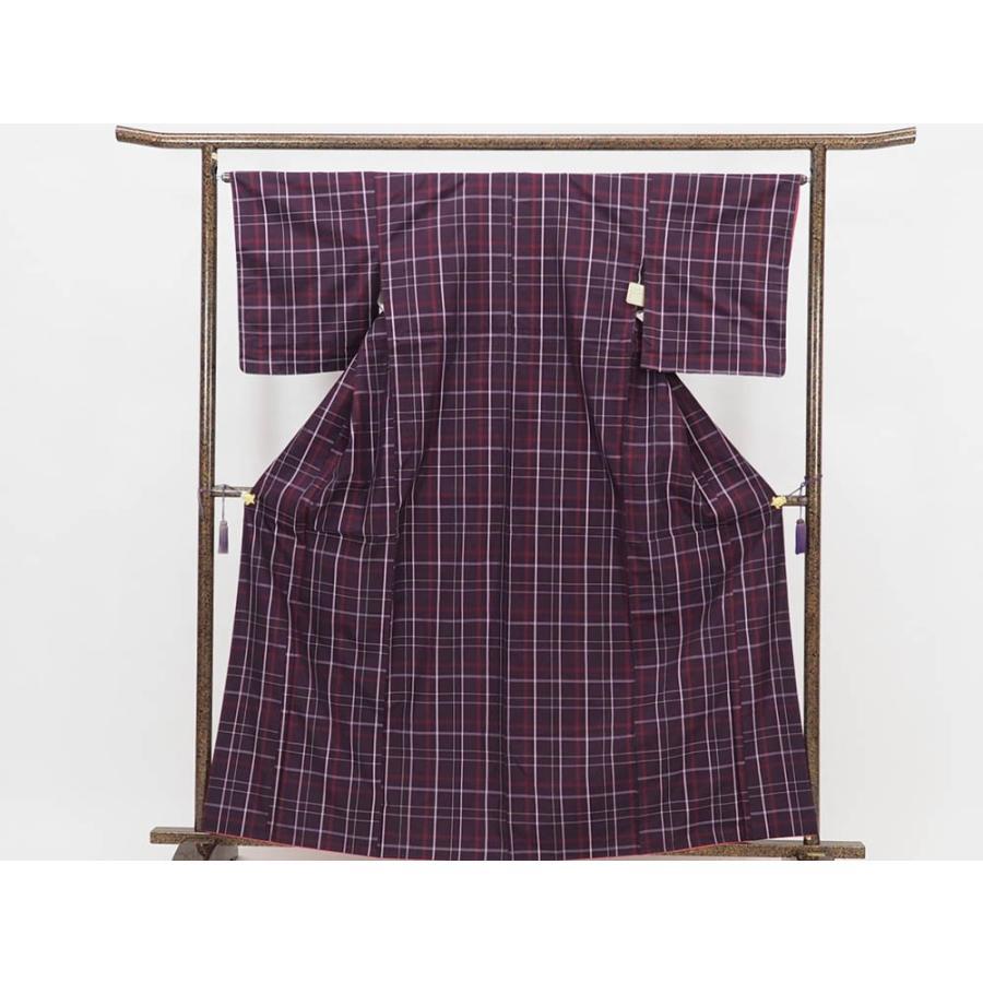 リサイクル着物 紬 正絹紫地格子柄袷紬着物未着用品