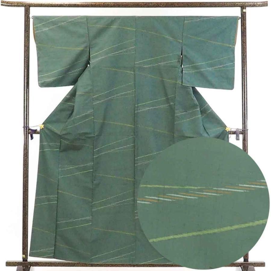 珍しい リサイクル着物 紬 正絹グリーン地袷紬着物, サウス&ビューティー 5b2d50b2