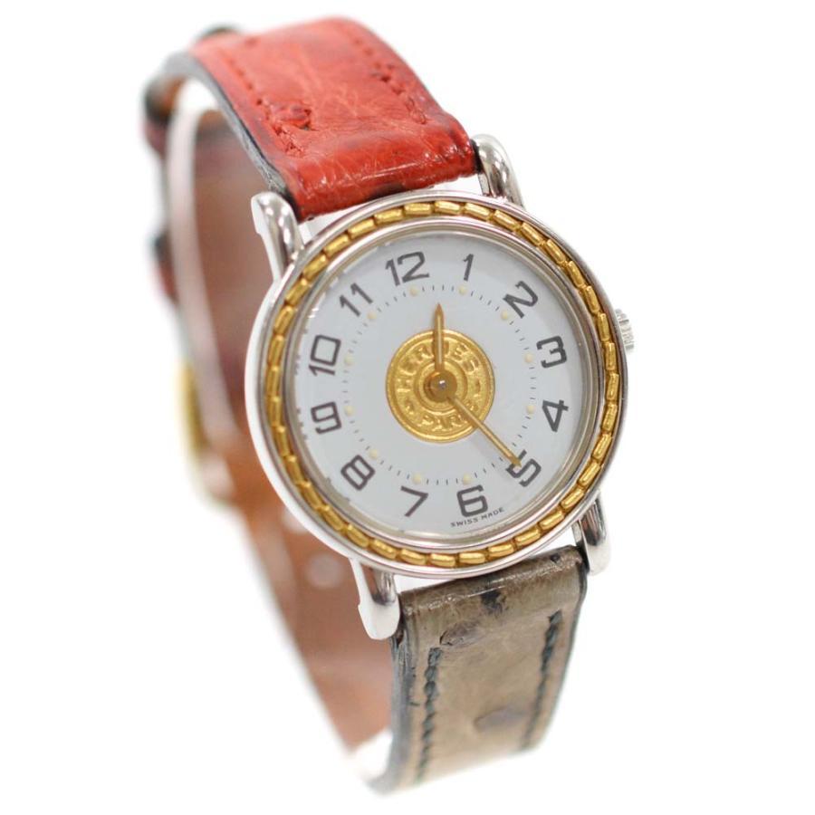 大きい割引 エルメス セリエ ウォッチ 腕時計 レディース クオーツ ホワイト文字盤 SS/GP レッド/グレー SE4.220  送料無料 HERMES, 再再販! a92454e0