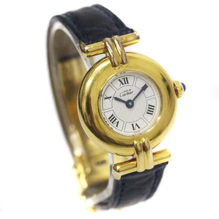 【まとめ買い】 カルティエ マストコリゼ ヴェルメイユ 腕時計 レディース クオーツ ホワイト文字盤 ゴールド ブル―系  送料無料 CARTIER, フラガリア商店 42bc5265