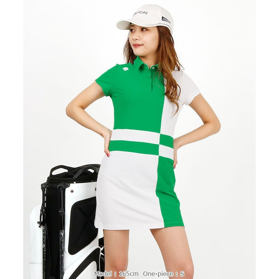 BLOCK配色♪半袖ワンピ デサントゴルフ 19春夏新作 ゴルフウェア レディース 春夏ワンピース